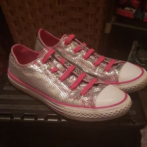 Converse All Star Metallic Silver Shoes